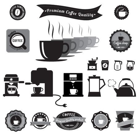 sign maker: Coffee icons, badge, sticker Illustration