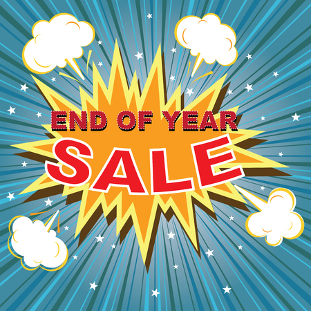 speech buble: End of year sale with comic buble speech