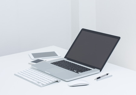 Blank screen Laptop computer with gedget