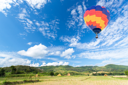 Hot air balloon over rice fields with mountain background photo