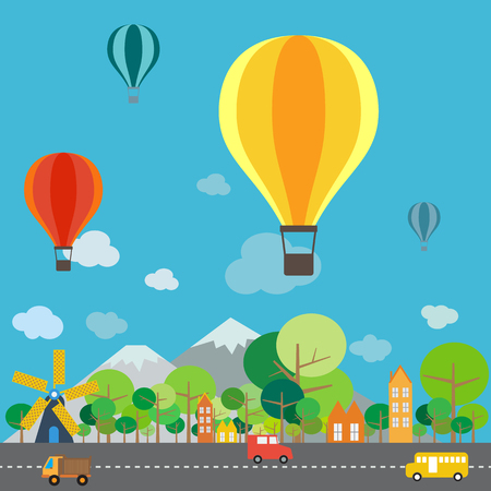 hot air balloon: Hot air balloon over the mountain, infographics format