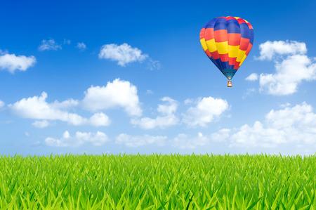 Colorful hot air balloon over green fields Standard-Bild