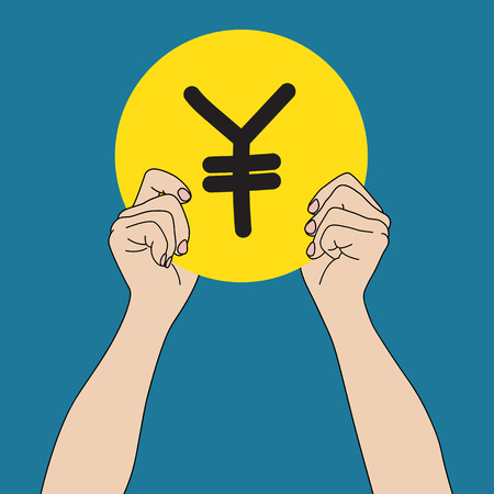 yen sign: Hand holding a coin with Yen sign, vector format