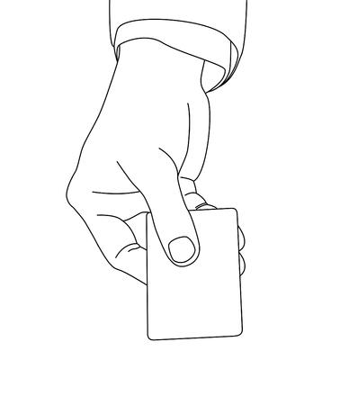 hand holding card: Hand houden kaart, vector-formaat