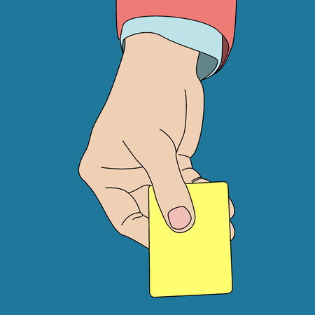 hand holding card: