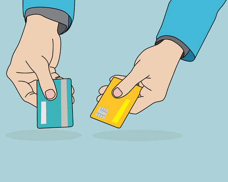 holding credit card: Businessman hands holding credit card, vector format