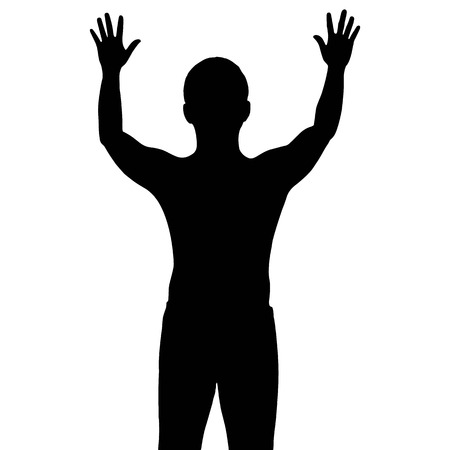 surrender: Silhouette man with show his hands up, vector format
