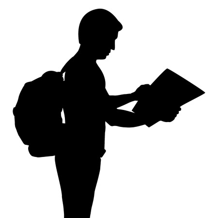 backpacker: Silhouette of backpacker with map, vector format Illustration