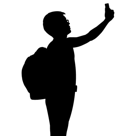 selfy: Silhouette man with backpack using mobile phone, vector format