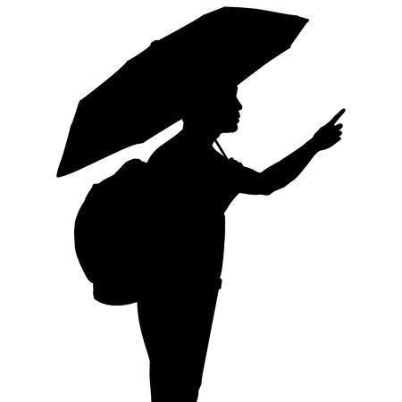 siluette: Silhouette man with umbrella, vector format