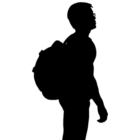 Silhouette man with backpack, vector format