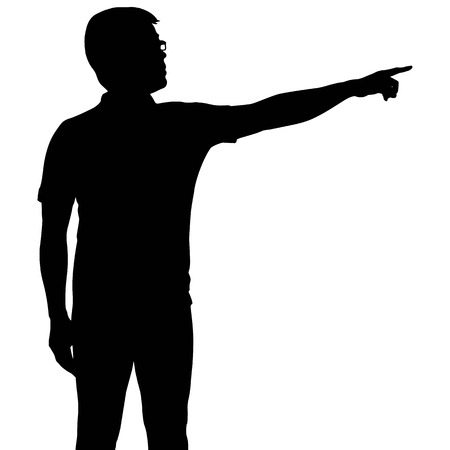 Silhouette man with hand pointing Vectores