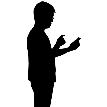 using tablet: Silhouette man looking at smartphone on hand isolated on white background