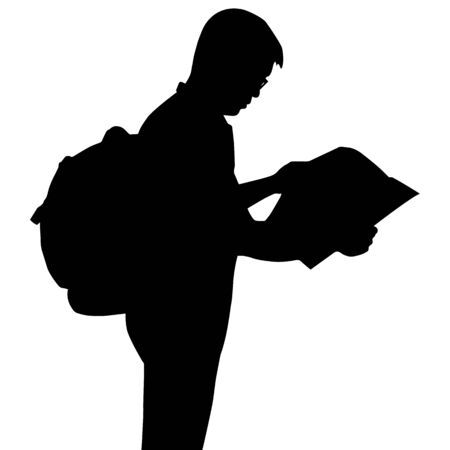 Silhouette backpacker reading map