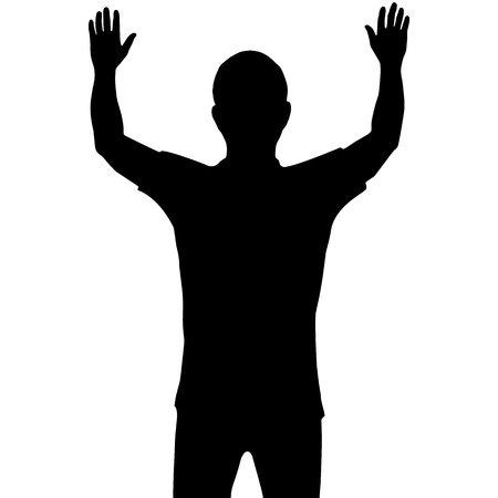 Silhouette man with show his hands up isolated on white background Иллюстрация
