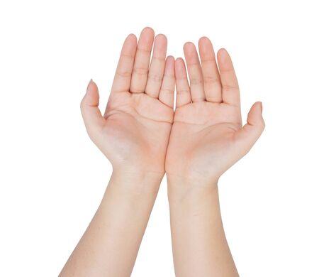 manos abiertas: Mujeres mano abierta aislada en el fondo blanco