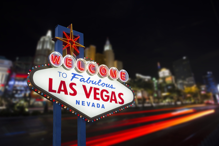 welcome symbol: Welcome to fabulous Las Vegas neon sign Editorial