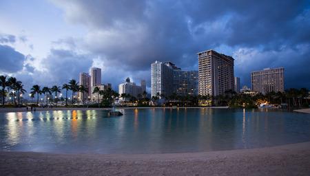 honolulu: Honolulu downtown at night, Oahu Hawaii Stock Photo