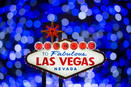 fabulous: Welcome to fabulous Las Vegas neon sign at night Editorial