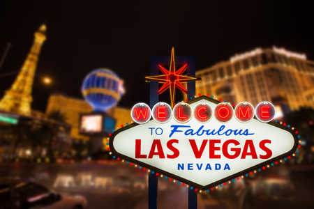 welcome symbol: Welcome to fabulous Las Vegas neon sign Stock Photo