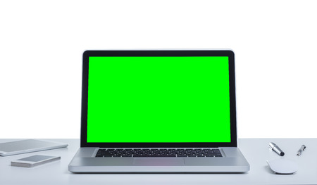 Green screen laptop computer Stock Photo