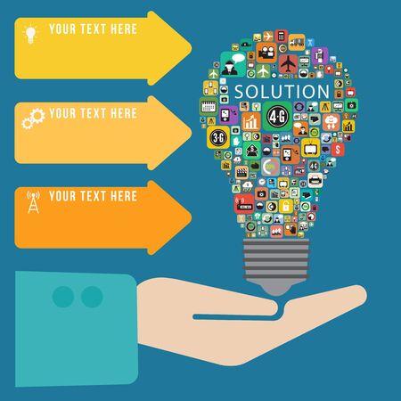 business innovation: Infographics solution light bulb Stock Photo