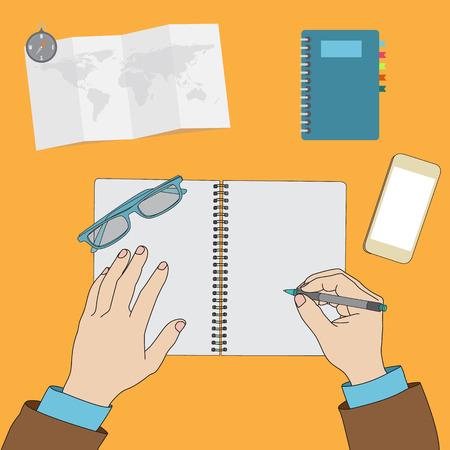 notebook: Hands writing on blank notebook