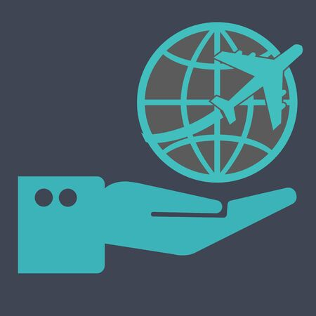 roaming: Hand hold world airplane icon Stock Photo
