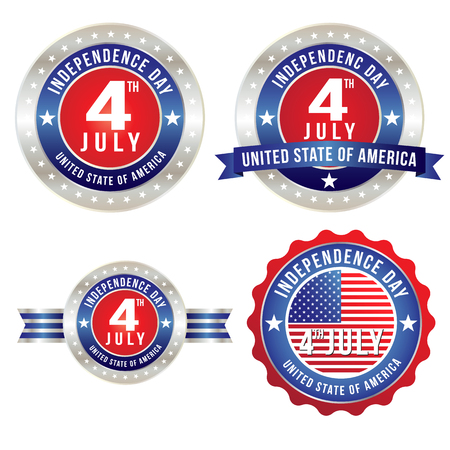 labor day: Happy Fourth of July badge Illustration