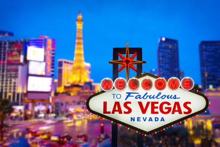 las vegas casino: Welcome to fabulous Las vegas Nevada sign with blur strip road Stock Photo