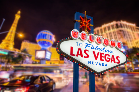 las vegas casino: Welcome to fabulous Las vegas Nevada sign with blur strip road background