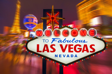 las: Welcome to fabulous Las vegas Nevada sign with blur strip road background