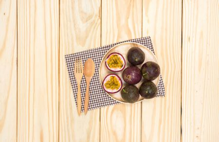 fruit: Top view of passion fruit on wood table