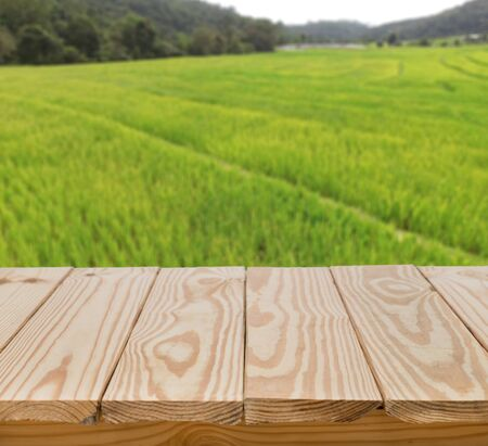 bar top: Wood table top with green fields background Stock Photo