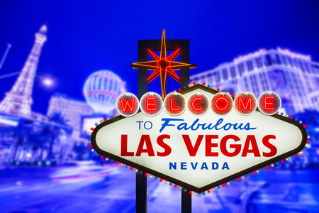 las: Welcome to fabulous Las Vegas neon sign Editorial