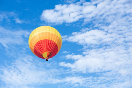 air baloon: Colorful hot air balloon with blue sky background Stock Photo