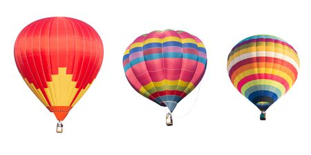 balloons: colorful hot air balloon isolated on white background Stock Photo