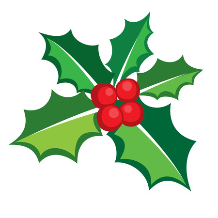 christmas wishes: Christmas Holly berry icon banner, vector format