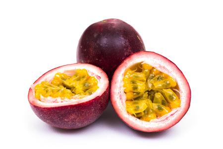 Passion fruit on white background
