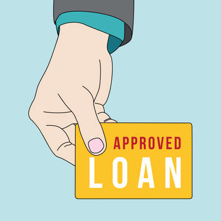credit risk: Hand holding personal loan card Illustration