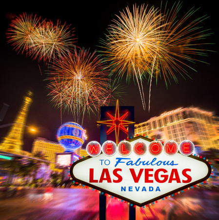 strips: Welcome to fabulous Las vegas Nevada sign with blur firework and strip road background Stock Photo