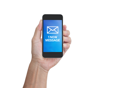 phone message: Hand holding mobile phone with 1 new message word isolated on white background; clipping path