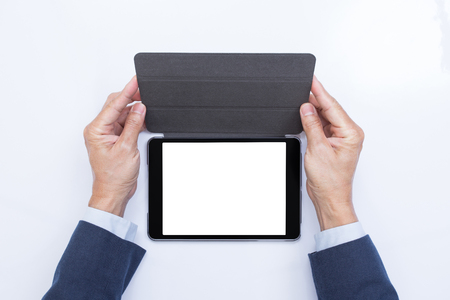 blank tablet: Businessman hands holding blank screen tablet computer Stock Photo