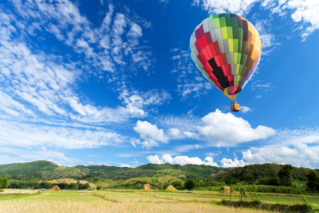 Hot air balloon over the field with blue sky Stock Photo