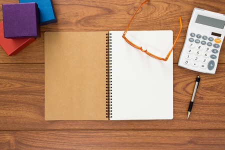 office accessories: Top view of notebook and office accessories
