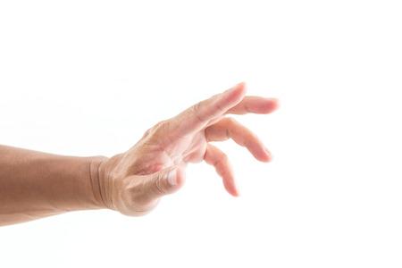 grabbing: Hand grabbing on white background Stock Photo