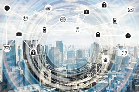 상황 및 정보 통신 기술의 스마트 시티 인터넷 스톡 콘텐츠
