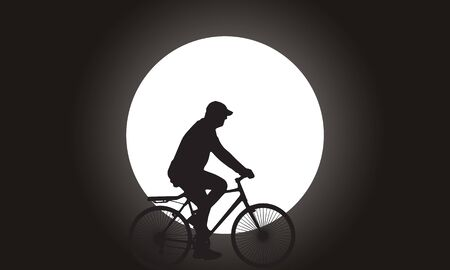 man on the moon: Silhouette man riding the bicycle with super full moon on background