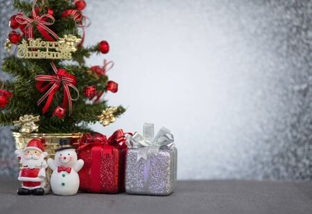 indoor background: Christmas decoration on abstract blur light background