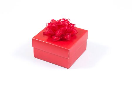 red gift box: Red gift box on white background Stock Photo